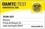 Very good result at the 06/2014 product test of OeAMTC: Recaro Privia with Recaro Recaro fix