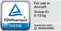 Certificated for usage in aircfrafts of Recaro Privia
