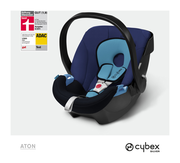 Cybex Aton in Blue Moon with logos