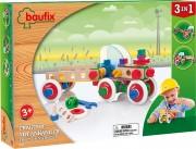 Baufix Traktor mit Anhänger mit 93 Baufix Holzbauteilen, Artikel 13110320