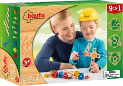 Baufix 1,2,3 with 27 Baufix wooden parts, item 13110150