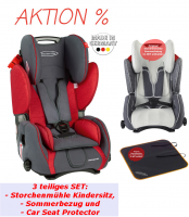 Storchenmühle Child Car Seat Starlight SP in chilli, red, Special Offer, Bundle with Summer Cover and Car Seat Protector