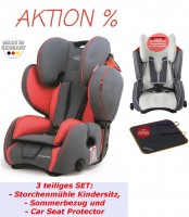 Bundle Storchenmühle Child Car Seat Starlight SP PRO in chilli, red, with Summer Cover and Car Seat Protector, Special Offer