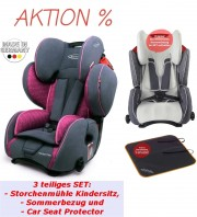 Bundle Storchenmühle Child Car Seat Starlight SP PRO in rosy, pink, with Summer Cover and Car Seat Protector, Special Offer