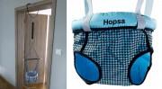 Door bouncer Hopsa turquoise black, design 2021, former Storchenmühle Hopsi