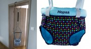 Door bouncer Hopsa turquoise colorful, design 2021, former Storchenmühle Hopsi